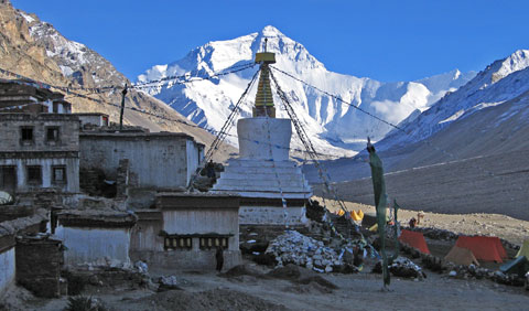Rongbuck and Everest, Tibet (Ann Foulkes)